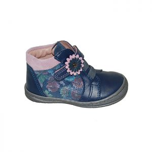 Μποτάκι πρώτα βήματα δερμάτινο σαμουά μπλε ροζ